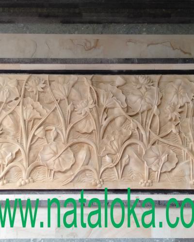 Gambar Relief Dinding Depan Rumah Motif Bunga Teratai