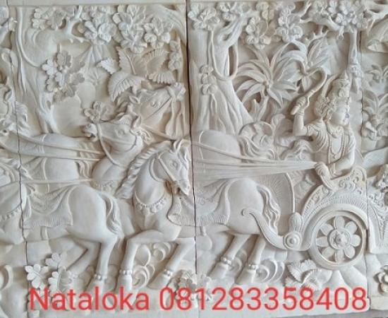 Relief Batu Alam Dinding Motif Mahabharata