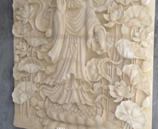 Jual Relief Batu Paras Alam Motif Dewi Kwan Im di Bali