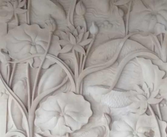 Relief Ornamen Dinding Motif Lotus Ukiran Bali
