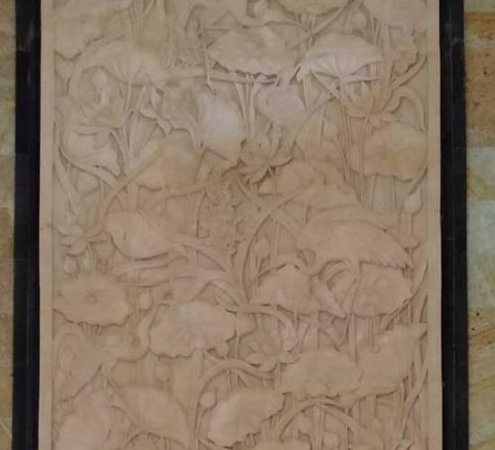 Jual Relief Ukiran Motif Lotus dan Burung Untuk Dinding