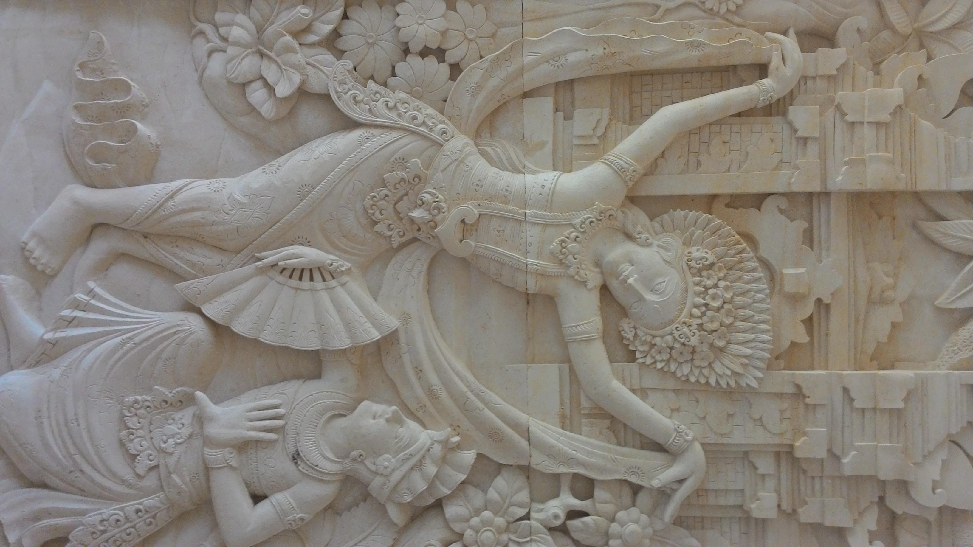 Relief Dinding Batu Alam motif Penari