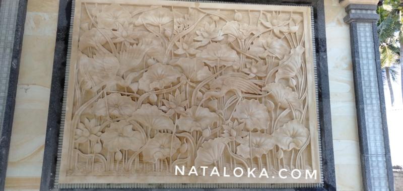 Jual Relief Ukiran Motif Lotus Untuk Dinding Villa/Hotel