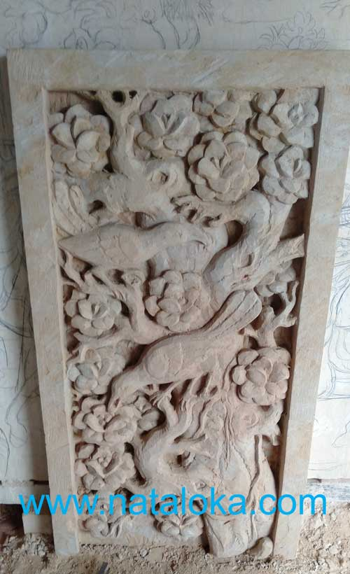 Relief Ornamen Dinding Ukiran Bali Motif Burung